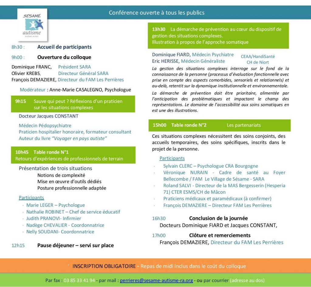 Programme détaillé de la conférence et coordonnées pour l'inscription