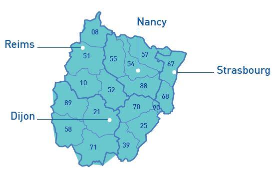 Carte des départements composant le Grand Est et la Bourgogne-Franche Comté avec les villes de Reims, Nancy, Dijon et Strasbourg indiquées par une flèche