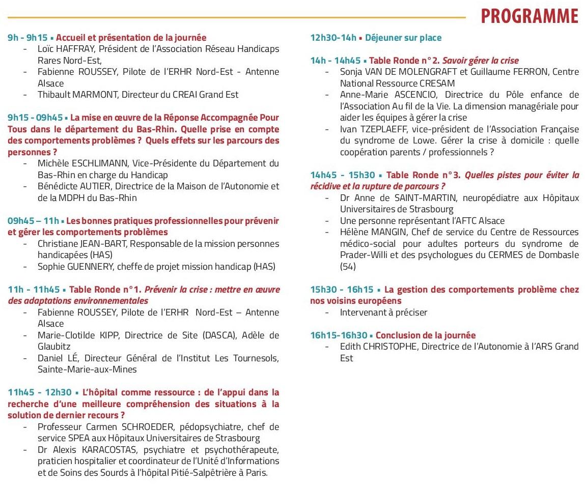 Programme de la journée Grand-Est Comportement-problèmes dans les problématiques de handicap rare ou complexe