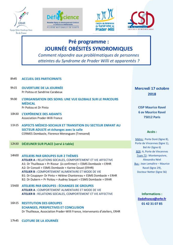 Pré-programme de la journée sur les obésités syndromiques